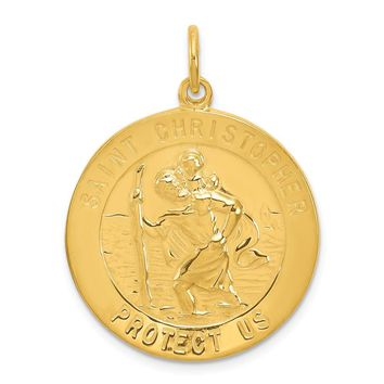 925 Sterling Silver 24k Gold-plated Sterling Silver St. Christopher Medal