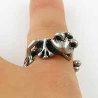 Animal Wrap Ring - Tree Frog - White Bronze - Adjustable Ring - keja jewelry