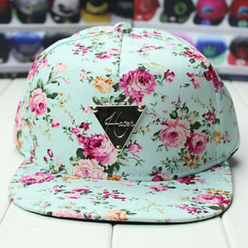 New Light Blue peony flower print Women's HIP POP SNAPBACK Cap BASEBALL kpop hat