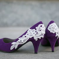 Wedding Shoes - Purple Bridal Heels/Wedding Heels with Ivory Lace. US Size 8.5