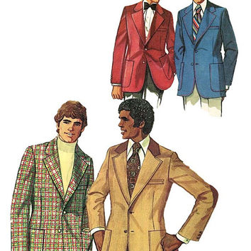 1970s MEN'S EVENING JACKET Pattern Simplicity 5217 Mens Lined Evening Sports Tuxedo Blazer Groom's Jacket Chest Size 42 Mens Sewing Patterns