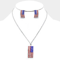 """16"""" crystal american flag patriotic 4th of july necklace 1"""" earrings"""