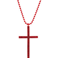 embellished-cross-necklace BLACK RED - GoJane.com