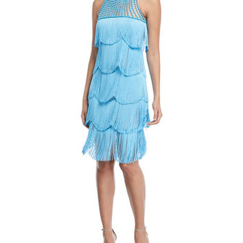 Naeem Khan Beaded Fringe Sleeveless Cocktail Dress