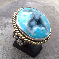 Sterling Silver Ring with Indonesian Drusy Blue Turquoise Color