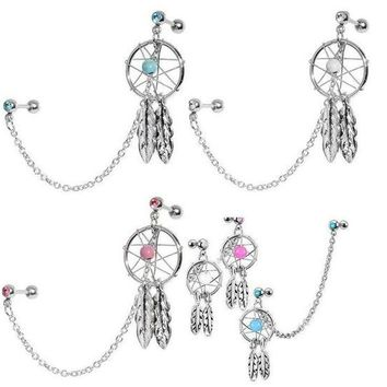 ac DCCKO2Q 2pcs/lot Dream Catcher Star Helix Tragus Cuff Ear Piercing Cartilage Stud Earring tragus piercing earring
