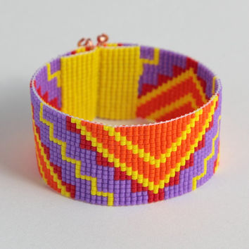 Tribal ZigZag Bead Loom Cuff Bracelet - Aztec - Bright - Colorful- Boho Jewelry - Native American Inspired-  Beadweaving - Southwestern