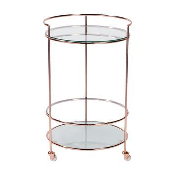 Roberta-HR Rolling Cart in Brushed Copper with Clear and Frosted Tempered Glass Shelves
