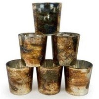 "Set of 6 Burnt Gold Mercury Glass Votive Candle Holders - 2.5"" Tall"