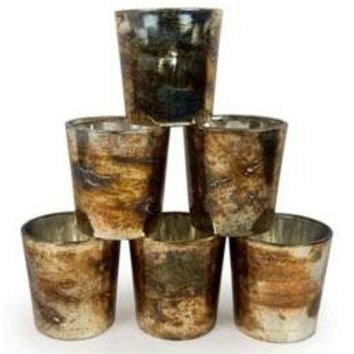 "Set of 6 Burnt Gold Mercury Glass Votive Candle Holders - 2.5"" Tall x 2.5"" Wide"