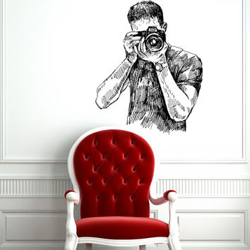 Photographer with Camera Housewares Wall Vinyl Decal Sticker Art Design Mural Modern Interior Decor Stylish Photo Photography Studio SV4309