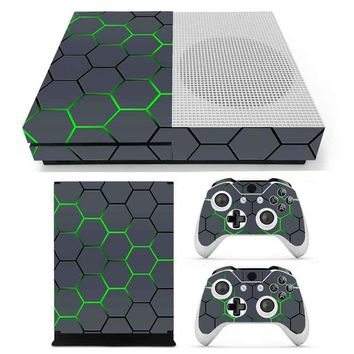 Green Geometry Painted Design Vinyl Decal Skin For XBOX ONE S Gaming Console+2 Controller Protective Decal Cover
