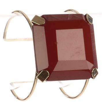Burgundy Cushion Cut Lucite Stone Metal Wire Cuff Bracelet