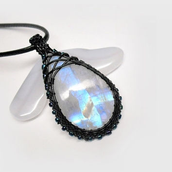 OOAK Moonstone necklace, wire wrapped rainbow moonstone, black copper wire, blue fire moonstone, beaded wire wrap, unique necklace for women