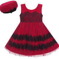 Girls Dress Princess Worsted Winter Christmas Hat Lace Red Size 4-10 Years