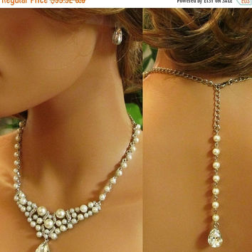 Bridal jewelry set, bridesmaid jewelry set, Bridal necklace, backdrop necklace, bridesmaid earrings, pearl necklace, bridal statement set