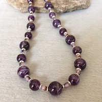 Beaded Amethyst Necklace Amethyst Bead Necklace Purple Gemstone Necklace February Birthstone Necklace Amethyst Jewelry Wife Gift For Her