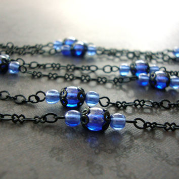 Sapphire and Black Extra Long Beaded Necklace - Gothic Lolita Jewelry - Black Metal Jewelry - Blue Alternative Jewelry Gothic Necklace