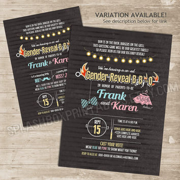 Gender Reveal BabyQ invitation - BBQ co-ed couple Baby Shower chalkboard invitation - barbecue grill mustache or bow mr or miss DIY invite