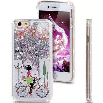 Liquid Glitter Phone Case for Iphone 5 5S (Girl on flower blossom bike)