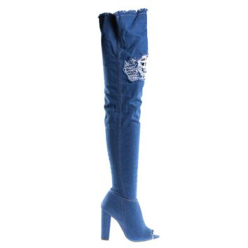 Limelight60s Blue Jean Denim By Bamboo, Over Knee Jean Boots, Destroyed Torn Shaft, Frayed Trim