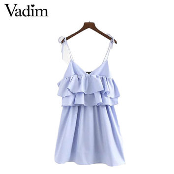 Women sweet ruffles spaghetti strap dress double layers elastic bust solid backless ladies pleated dresses vestidos QZ2927