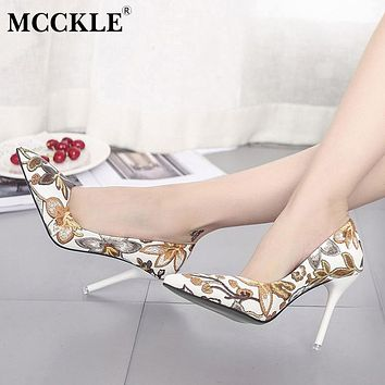 MCCKLE Woman Slip On Shoes Fashion Leaves Printing Ladies Sexy Stiletto Female Floral Thin Women High Heels Party Dress Pumps