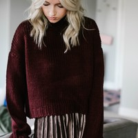 Mock Me Burgundy Sweater