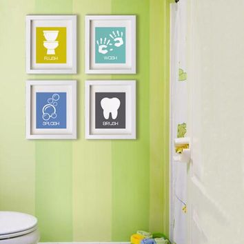 Bathroom Wall Art: Bathroom Manners Brush/Wash/Flush/Splash Wall Art Prints