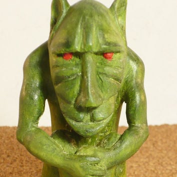 Wood Carving of gargoyle grotesque mythic fantasy art sculpture