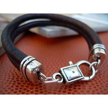 Mens Leather Bracelet , Antique Brown Leather Cord, Lobster Clasp Closure, Leather Bracelet, Mens Jewelry, Mens Bracelet