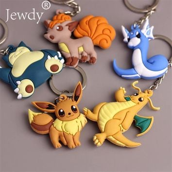 3D Anime Pokemon Go Key Ring Pikachu Keychain Pocket Monsters Key Holder Pendant Mini Charmander Squirtle Bulbasaur Figure Toys