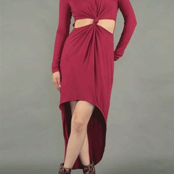 Divine Glamour Cut-Out Front Dress In Burgundy | Thirteen Vintage