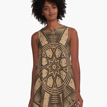 'Vintage Native American Gathering' A-Line Dress by MelvinWarEagle