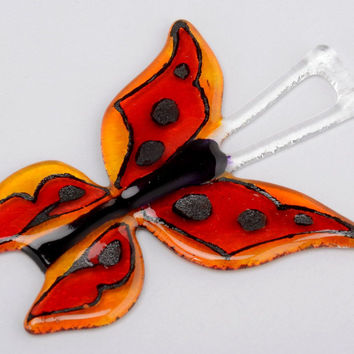 Decorative pendant handmade gifts statuette for wall made of glass Butterfly
