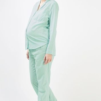 MATERNITY Mint Stripe Pyjama Set - Maternity - Clothing