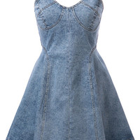Blue Denim Strappy Skater Dress