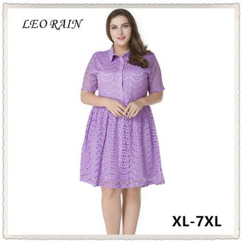 6XL 7XL Plus Size Women Summer 2017 New Collar Square Hollow Elegant Lace Work Dress Ropa Mujer American Apparel LEORAIN