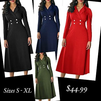 Women's Long Sleeve Wrap V Neck Lapel Dress, Sizes Small - XLarge (US 4 - 18)