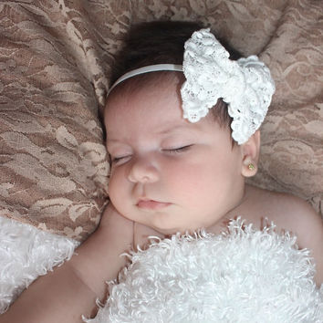 Wondrous White Lace Bow Headband