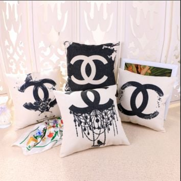 Chanel Cotton and linen pillow sets with core pillow back car sofa pillowcase