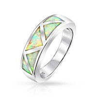 925 Sterling Silver Band Inlaid Synthetic Opal Ring 6mm | Bling Jewelry