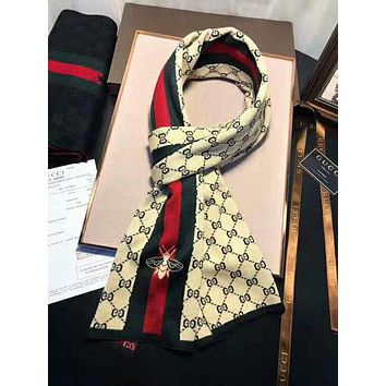 GUCCI Trending Couple Stylish Bee Letter Jacquard Cashmere Cape Scarf Scarves Shawl Accessories