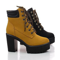 Gracie01 Wheat Pu By Nature Breeze, Lace Up Lug Sole Heel Platform Ankle Work Booties