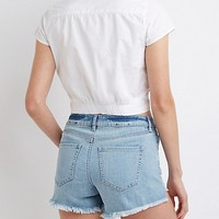 Twist Front Button Up Crop Top | Charlotte Russe