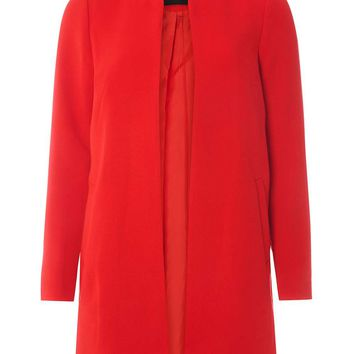Red Notch Neck Coat - Jackets & Coats - Clothing