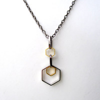 Geometric Necklace Mens Necklace Hexagon Mixed Metal Necklace For Him and Her