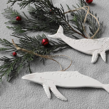 A pair of handmade porcelain Humpback Whale Ornaments, Porcelain Christmas Ornament, White Ceramic Whale Ornament, Christmas Tree decoration