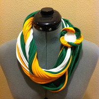 NFL Green Bay Packers string scarf. T-shirt scarf. Necklace scarf. Upcycled scarf. Choose your pin.