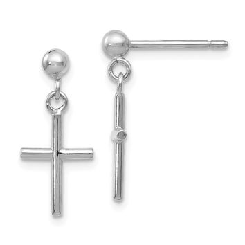 Leslie 14k White Gold Cross Post Drop Earrings
